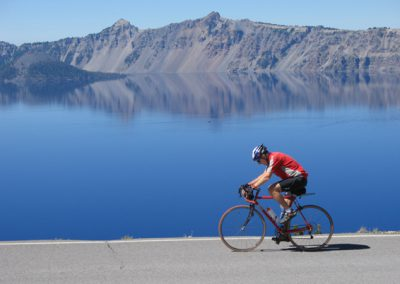 Cyclist Crater Lake